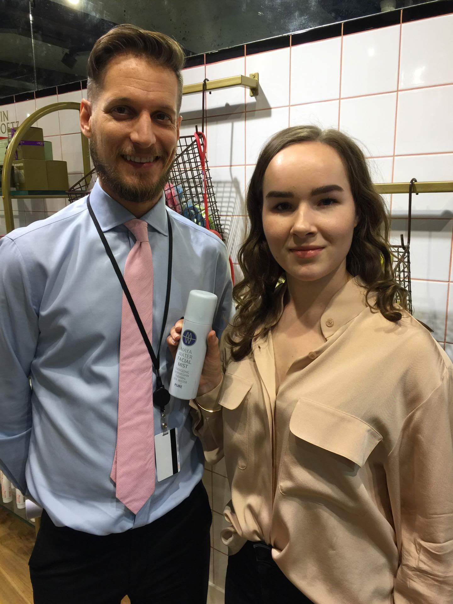 Hege Bellika Hansen from the MAYAWATER-team together with Luke Fry, Beauty Department Manager at LIBERTY LONDON