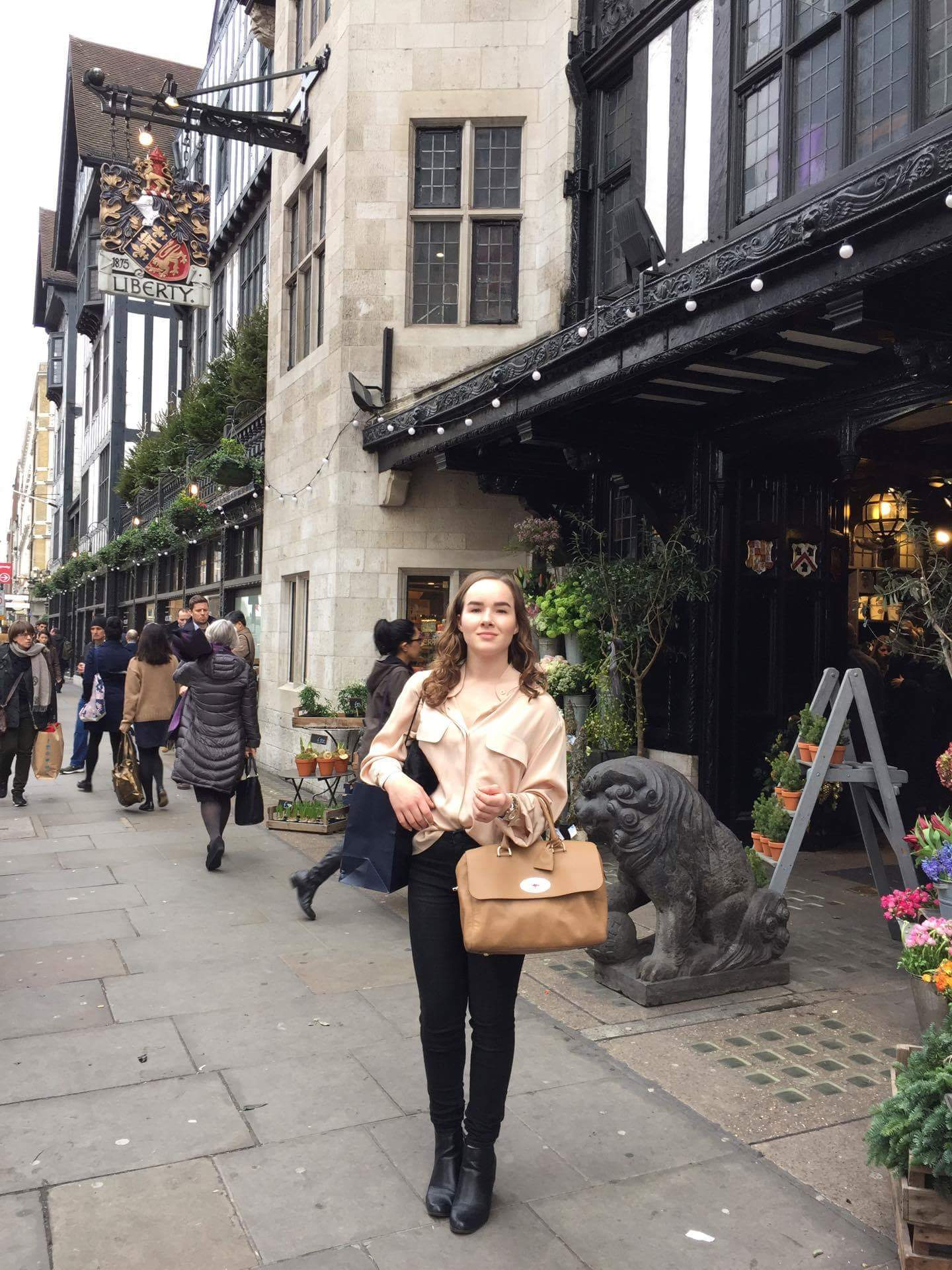 Hege Bellika Hansen from the MAYAWATER-team outside of LIBERTY LONDON